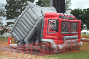 ready2climb: a large bouncy castle themed to look like a tipper truck
