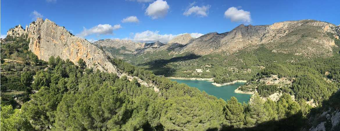 ready2climb: a panoramic shot of one ofthe sports climbing crags in La Guadalest, Spain